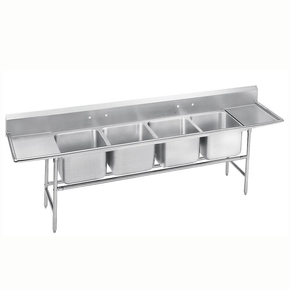 """Advance Tabco 9-44-96-24RL 154"""" 4-Compartment Sink w/ 24""""L x 24""""W Bowl, 12"""" Deep"""