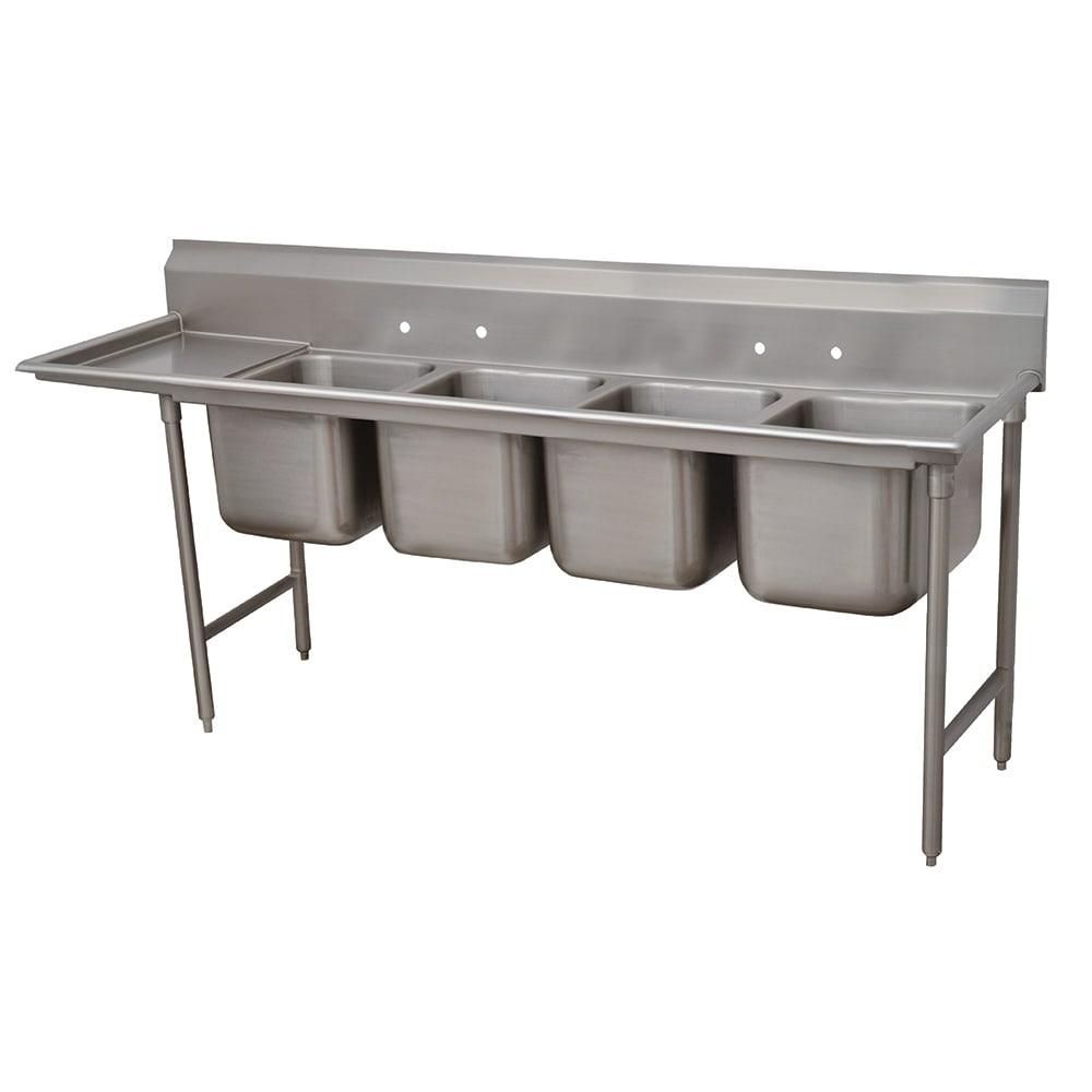 """Advance Tabco 9-4-72-18L 95"""" 4-Compartment Sink w/ 16""""L x 20""""W Bowl, 12"""" Deep"""