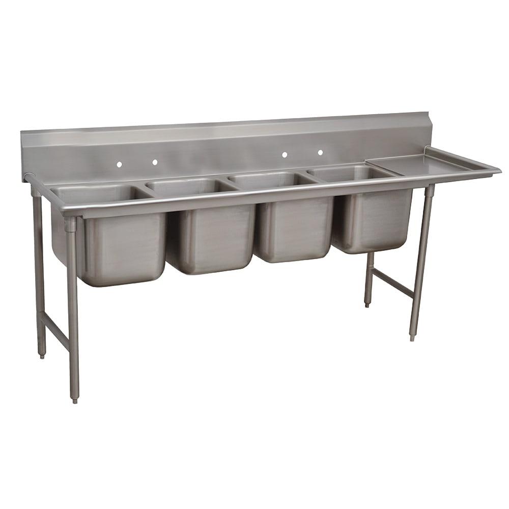 """Advance Tabco 9-4-72-18R 95"""" 4-Compartment Sink w/ 16""""L x 20""""W Bowl, 12"""" Deep"""
