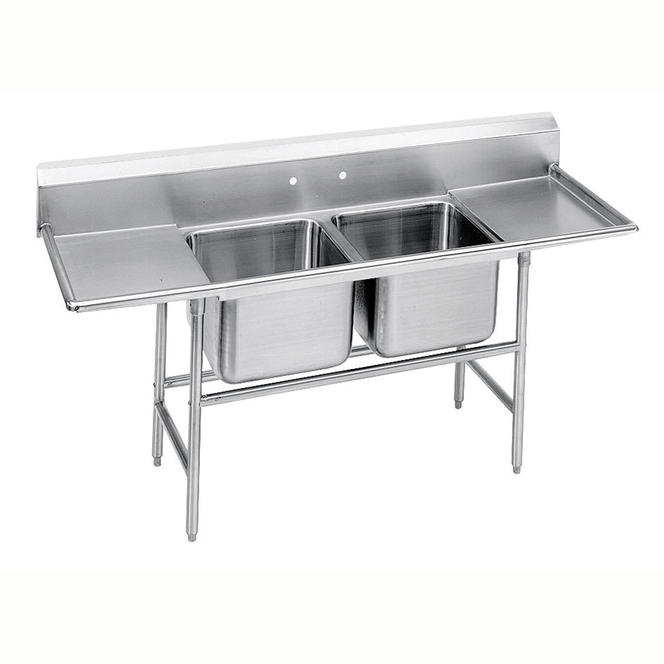 """Advance Tabco 94-82-40-24RL 93"""" 2-Compartment Sink w/ 20""""L x 28""""W Bowl, 14"""" Deep"""