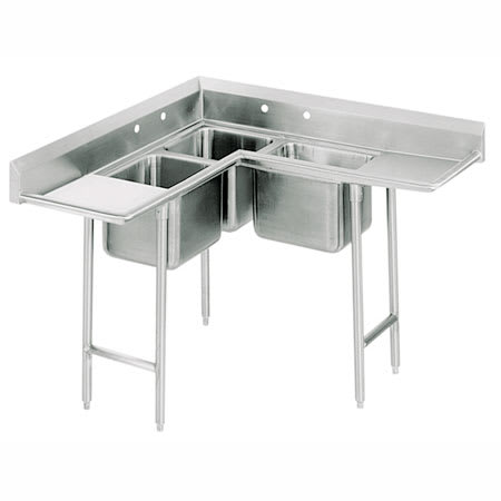 "Advance Tabco 94-K6-18D 61"" 3-Compartment Sink w/ 16""L x 20""W Bowl, 12"" Deep"