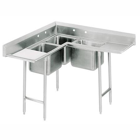 """Advance Tabco 94-K8-30D 86"""" 3 Compartment Sink w/ 20""""L x 20""""W Bowl, 12"""" Deep"""