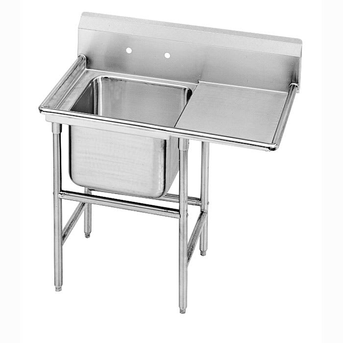 "Advance Tabco 9-81-20-36R 62"" 1 Compartment Sink w/ 20""L x 28""W Bowl, 12"" Deep"