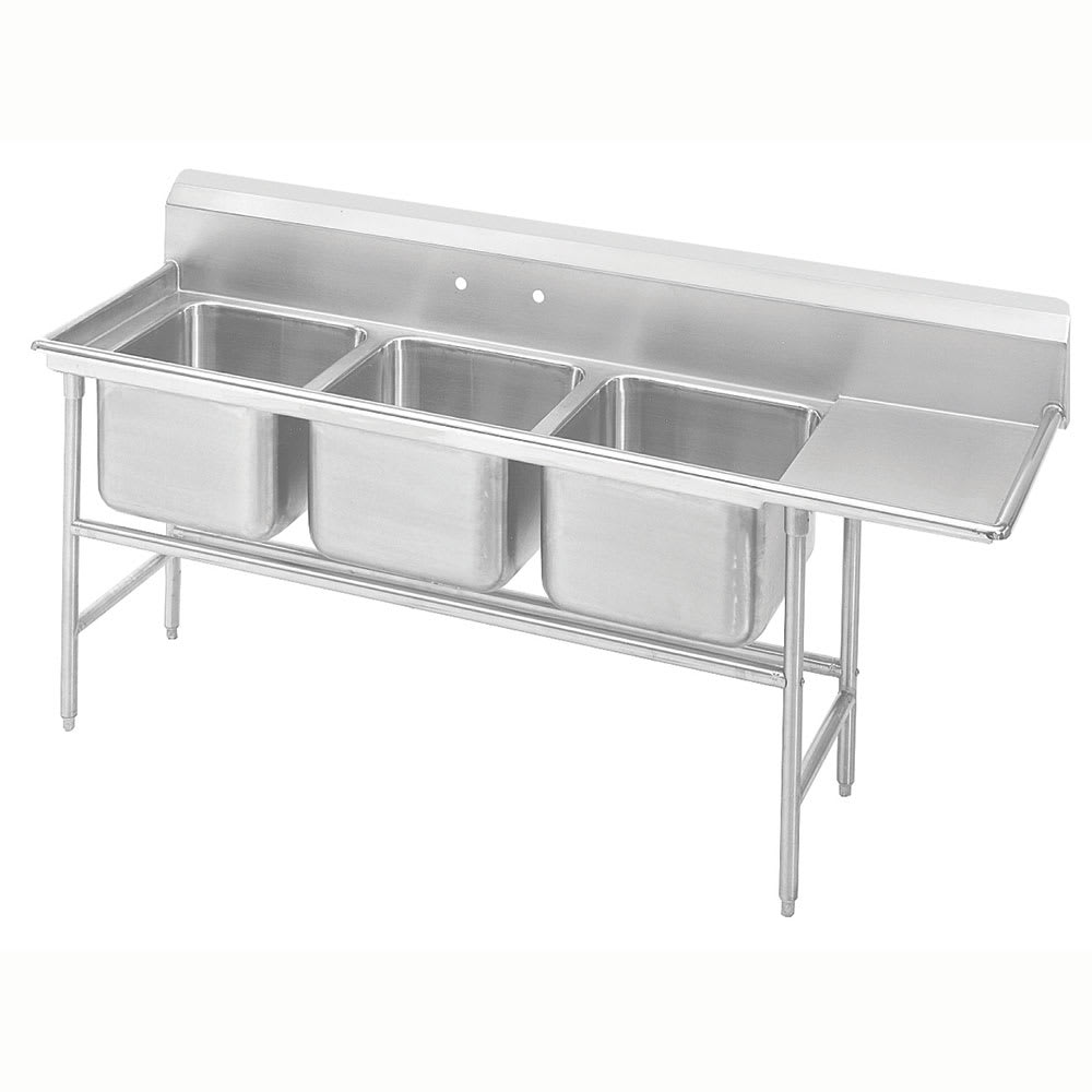 "Advance Tabco 9-83-60-18R 89"" 3-Compartment Sink w/ 20""L x 28""W Bowl, 12"" Deep"