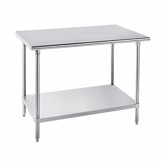 "Advance Tabco AG-369 108"" 16 ga Work Table w/ Undershelf & 430 Series Stainless Flat Top"