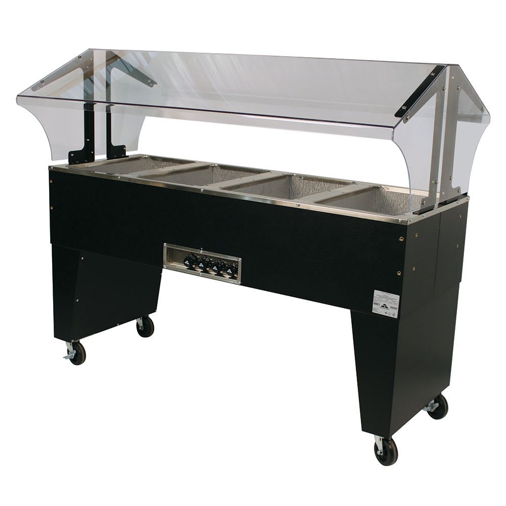 "Advance Tabco B4-240-B 62.5"" Portable Steamtable Hot Food Unit w/ (4) Wells - Sneeze Guard, 208-240v/1ph"