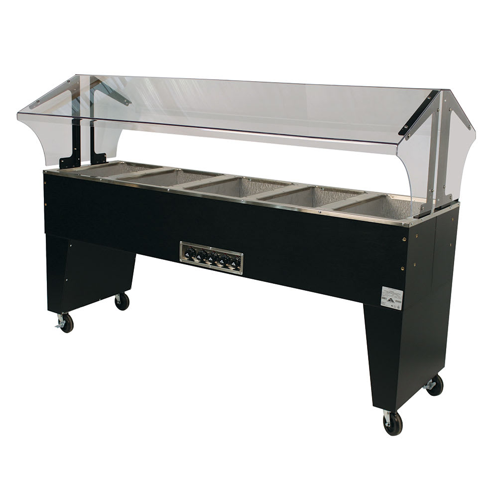 "Advance Tabco B5-240-B-SB 77.75"" Portable Steamtable Hot Food Unit w/ (5) Wells - Sneeze Guard, 208-240v/1ph"