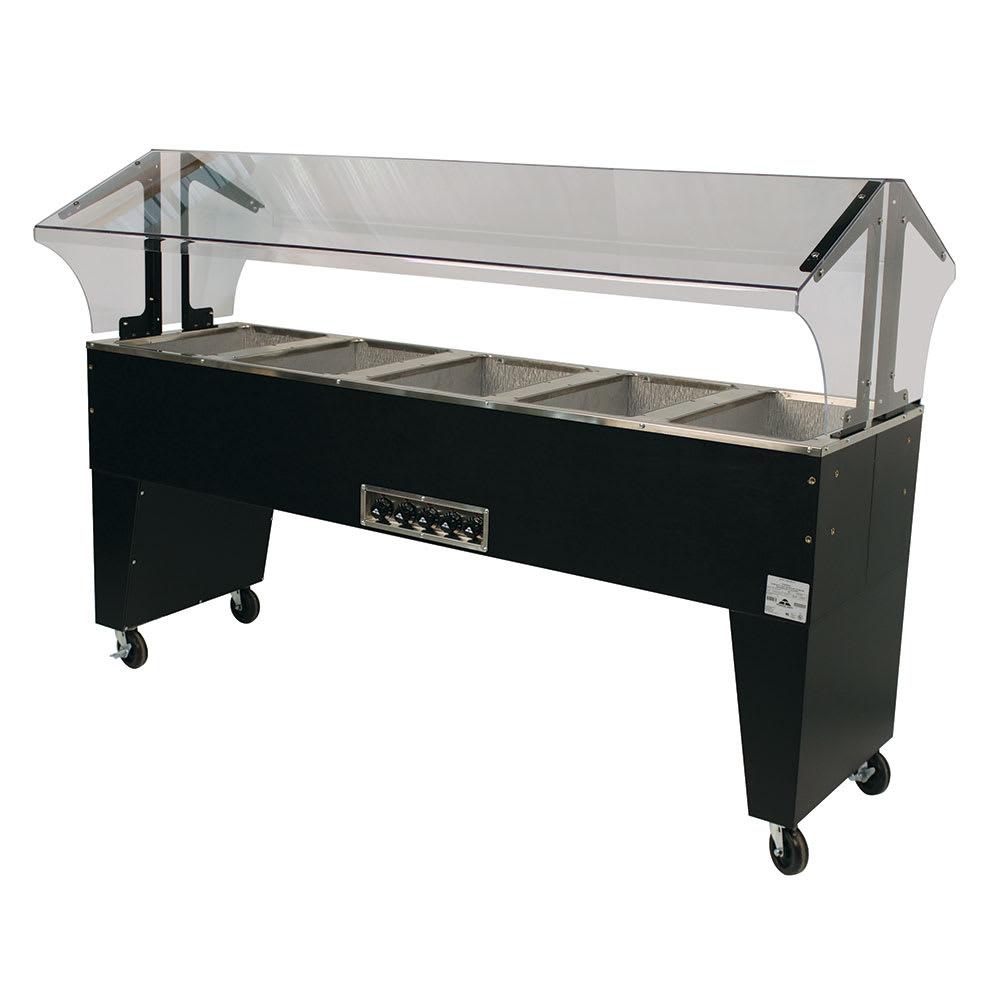 "Advance Tabco B5-240-B-SB 77.75"" Portable Steamtable Hot Food Unit w/ (5) Wells - Sneeze Guard, 208 240v/1ph"