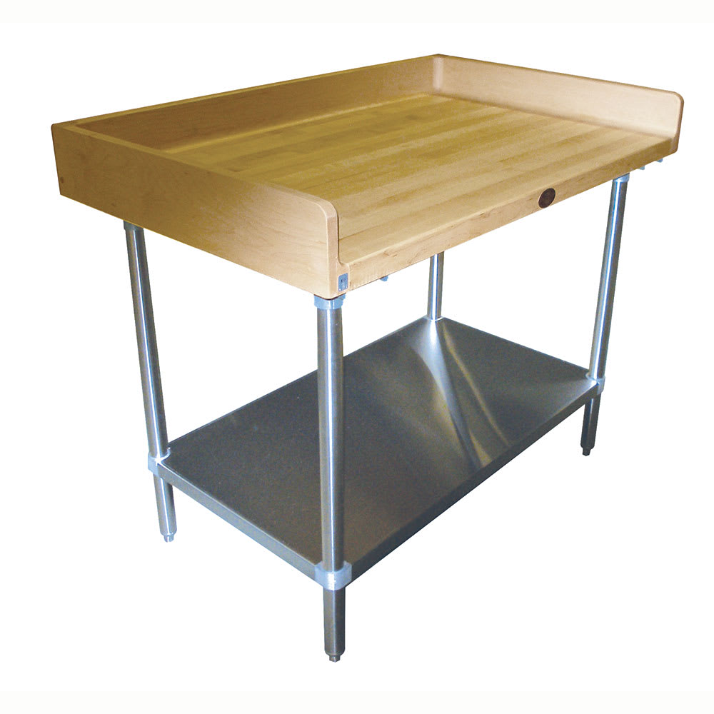 "Advance Tabco BG-364 48"" Maple Top Bakers Table w/ 4"" Splash & Undershelf, 36""D"
