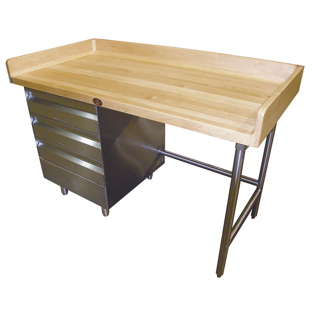 """Advance Tabco BGT-364 48"""" Maple Top Bakers Table w/ 4"""" Splash & (3) Left-Side Drawers, 36""""D"""