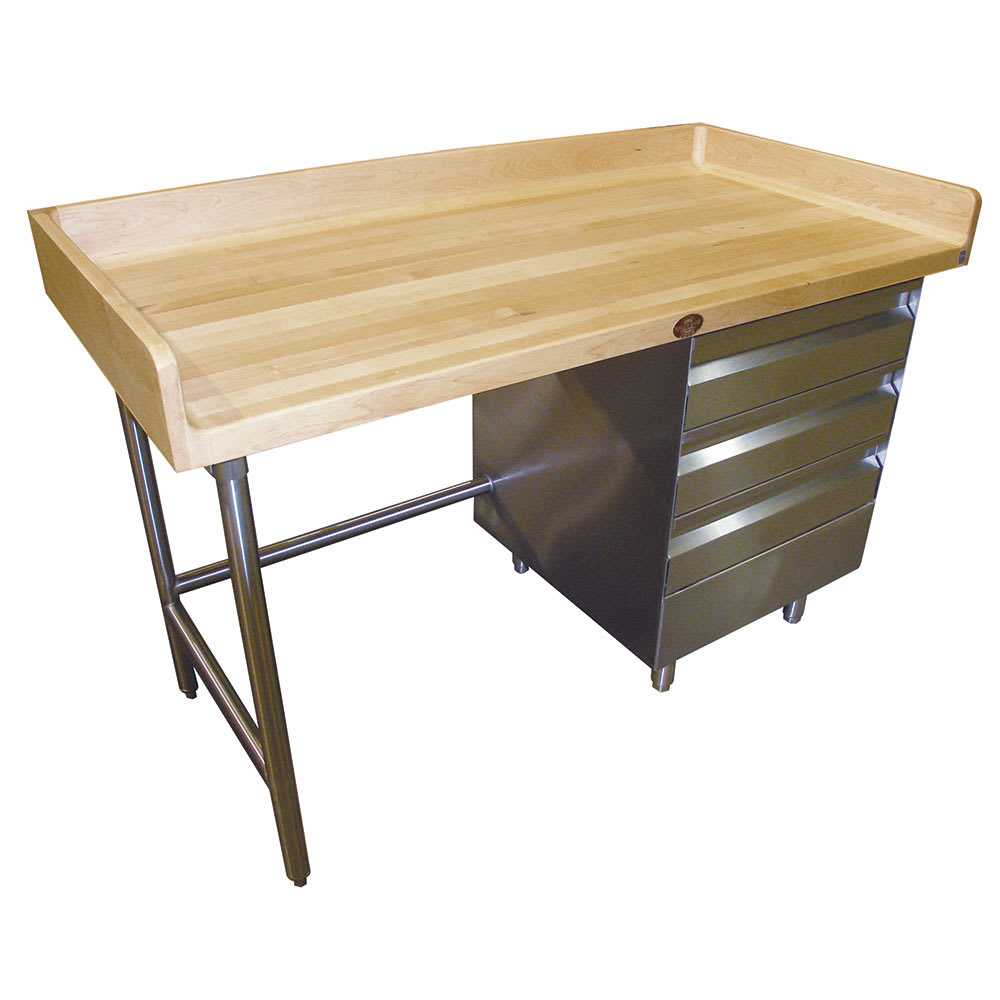 "Advance Tabco BGT-366 72"" Maple Top Bakers Table w/ 4"" Splash & (3) Right-Side Drawers, 36""D"