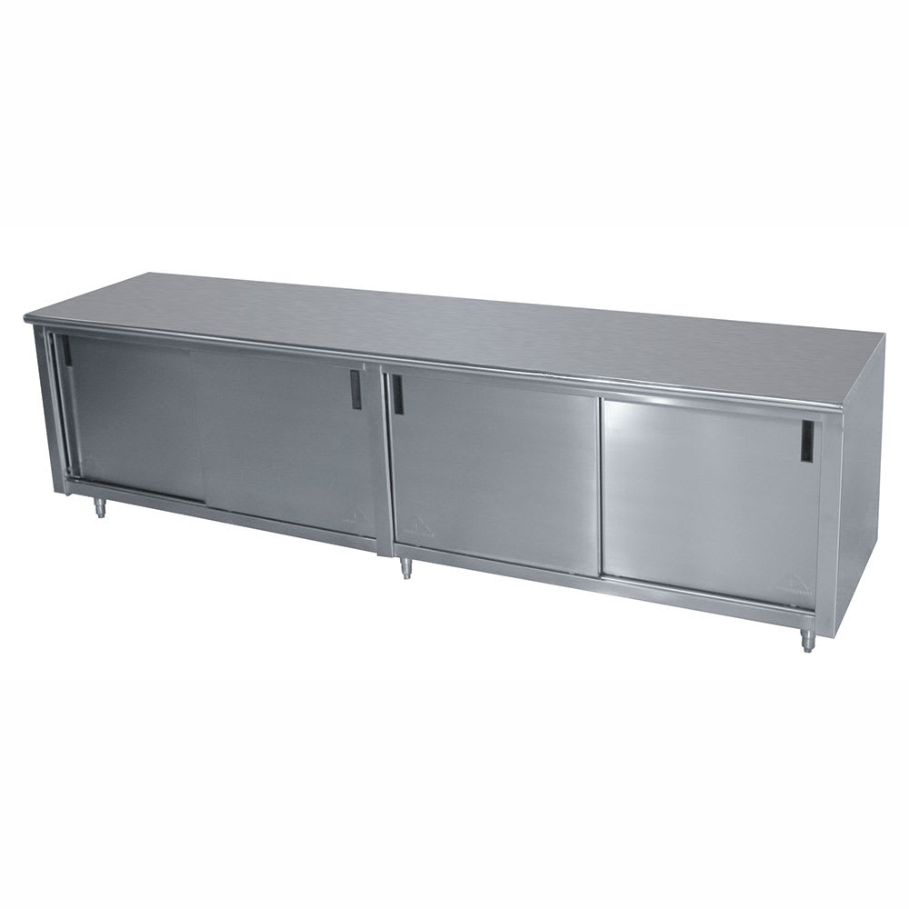 "Advance Tabco CB-SS-249M 108"" Enclosed Work Table w/ Sliding Doors & Midshelf, 24""D"