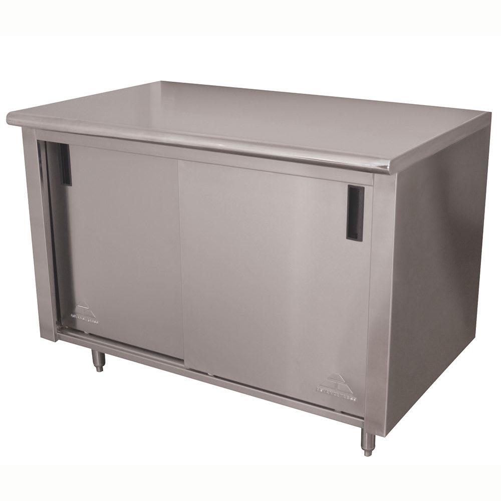 "Advance Tabco CB-SS-364M 48"" Enclosed Work Table w/ Sliding Doors & Midshelf, 36""D"