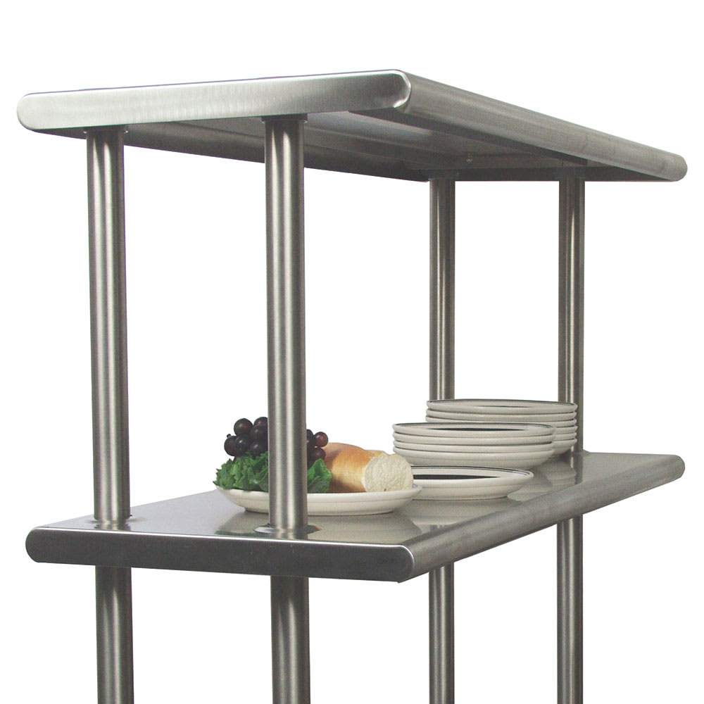 "Advance Tabco CDS-18-72 Adjustable Double Overshelf, 18""W x 72 L, 6"" Overhang On 1 Side"