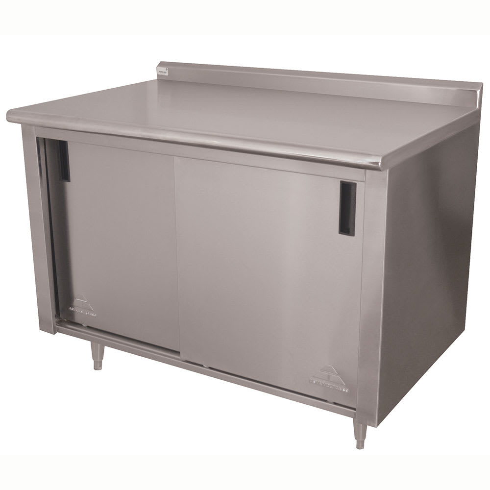 "Advance Tabco CF-SS-244M 48"" Enclosed Work Table w/ Sliding Doors & Midshelf, 1.5"" Backsplash, 24""D"