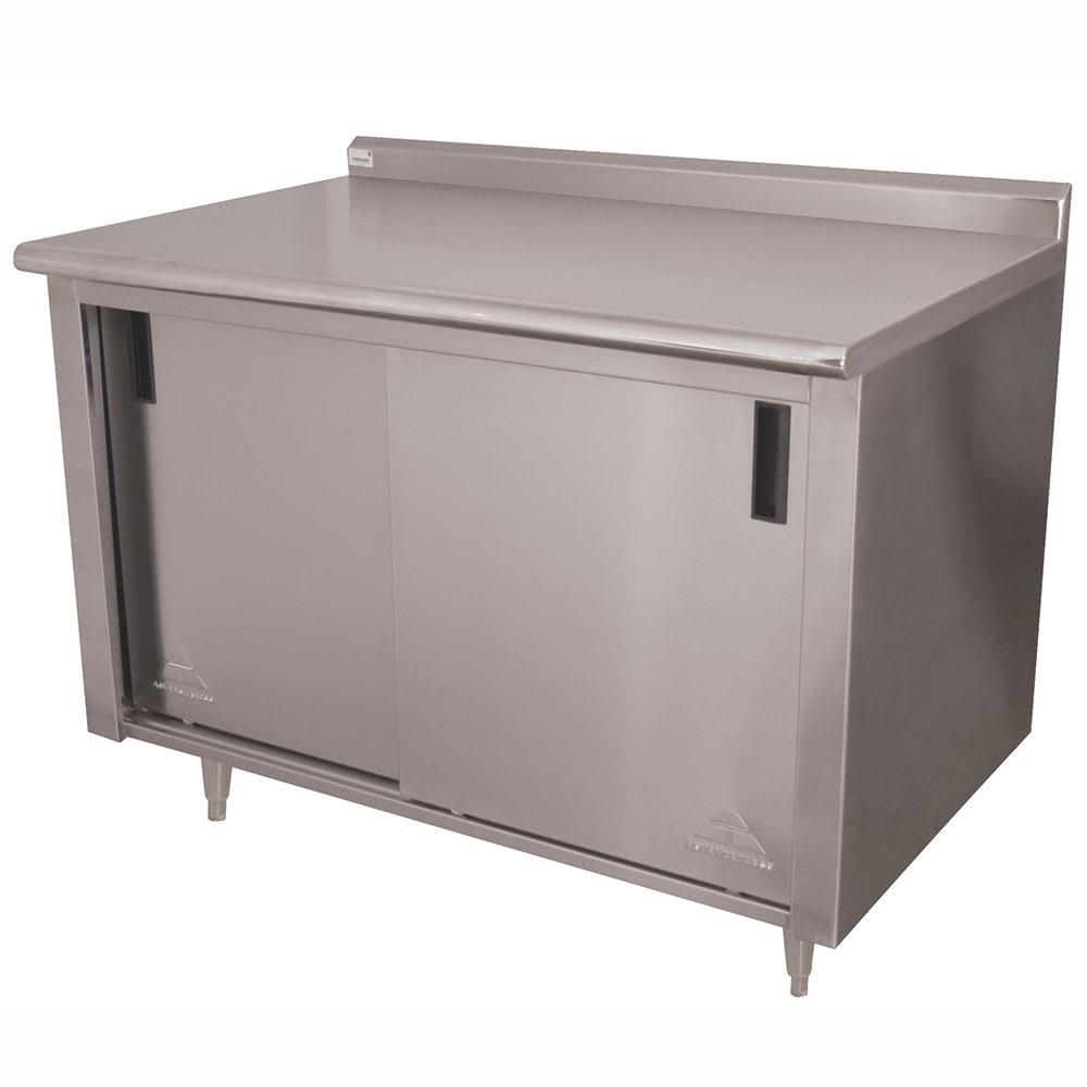 "Advance Tabco CF-SS-304M 48"" Enclosed Work Table w/ Sliding Doors & Midshelf, 1.5"" Backsplash, 30""D"
