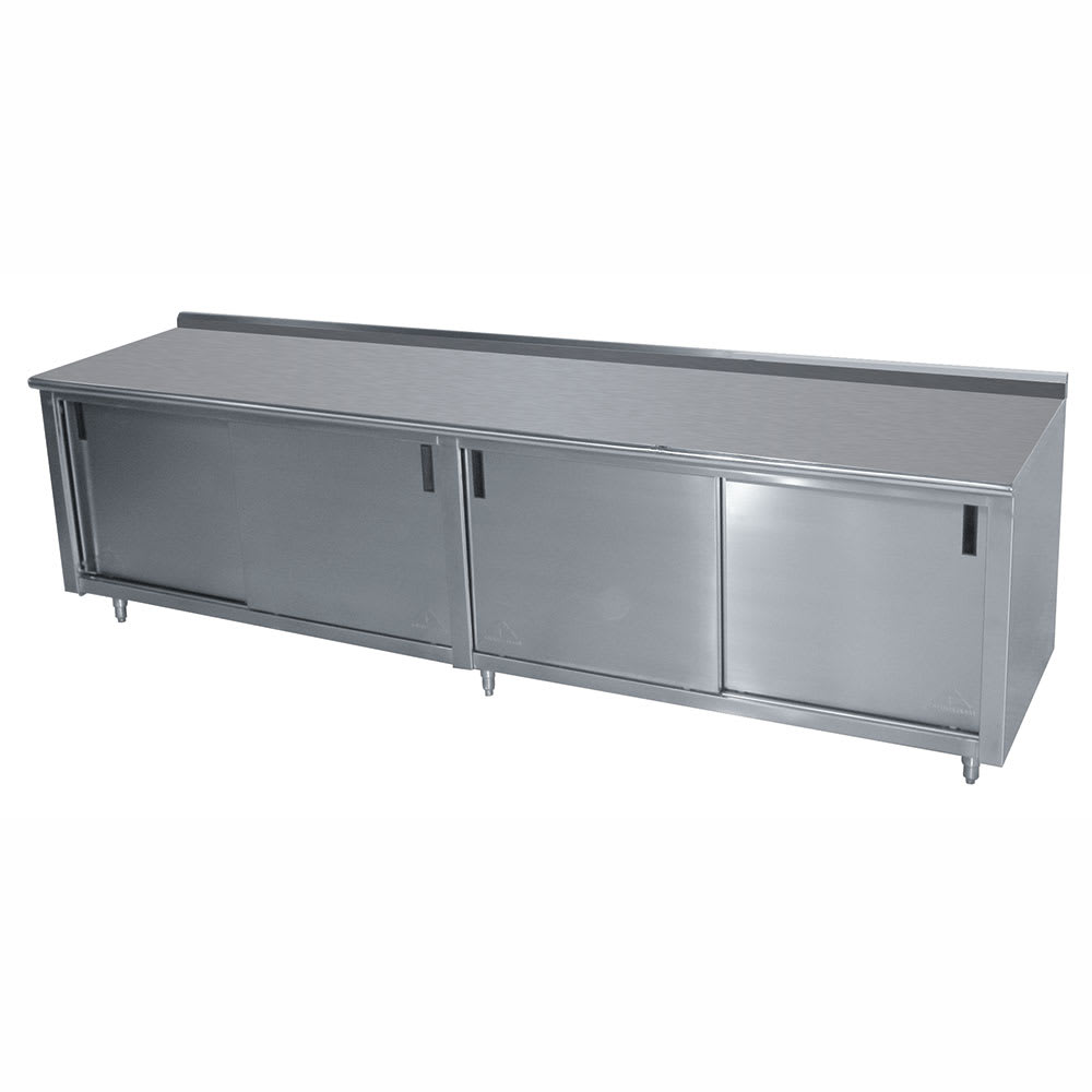 "Advance Tabco CF-SS-309M 108"" Enclosed Work Table w/ Sliding Doors & Midshelf, 1.5"" Backsplash, 30""D"