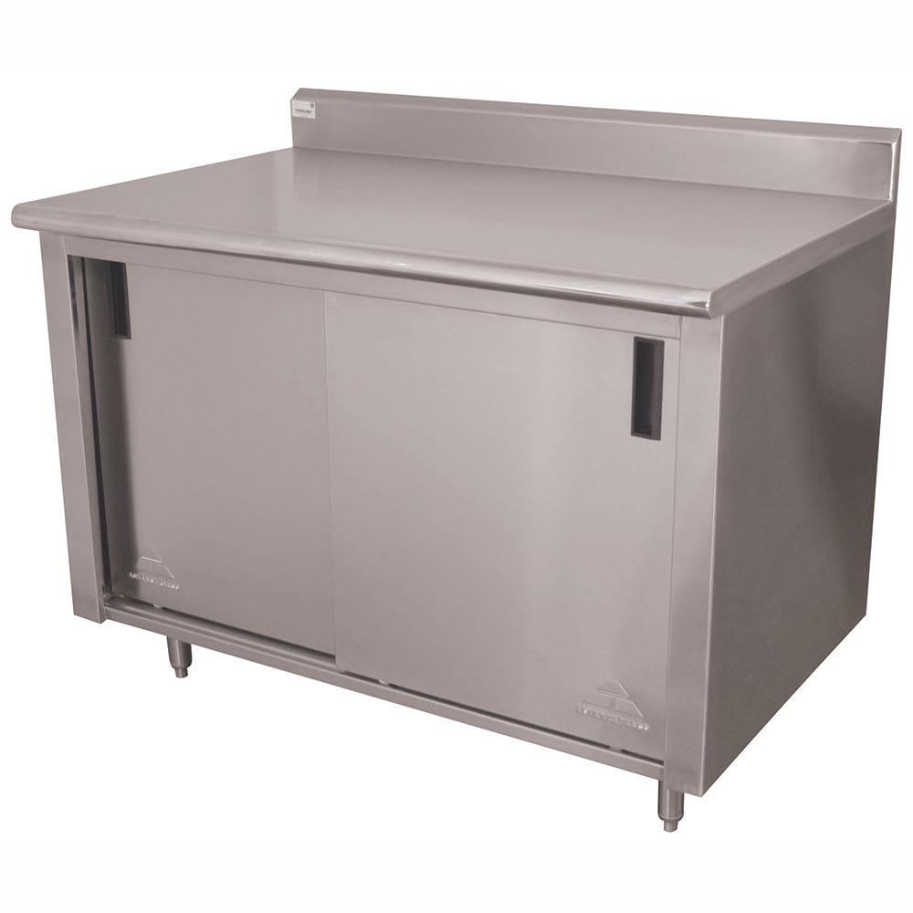 "Advance Tabco CK-SS-244M 48"" Enclosed Work Table w/ Sliding Doors & Midshelf, 5"" Backsplash, 24""D"