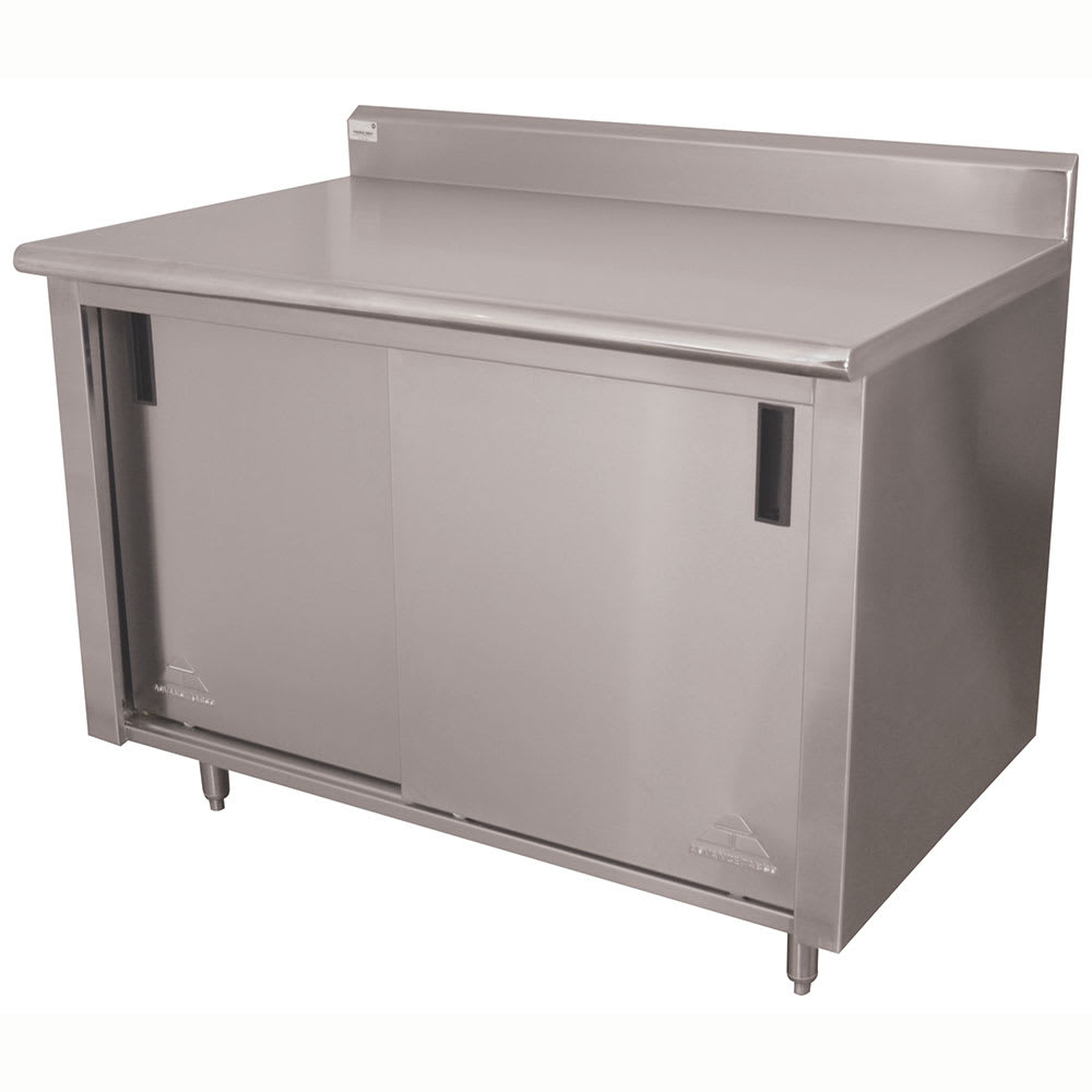 "Advance Tabco CK-SS-306 72"" Enclosed Work Table w/ Sliding Doors & 5"" Backsplash, 30""D"