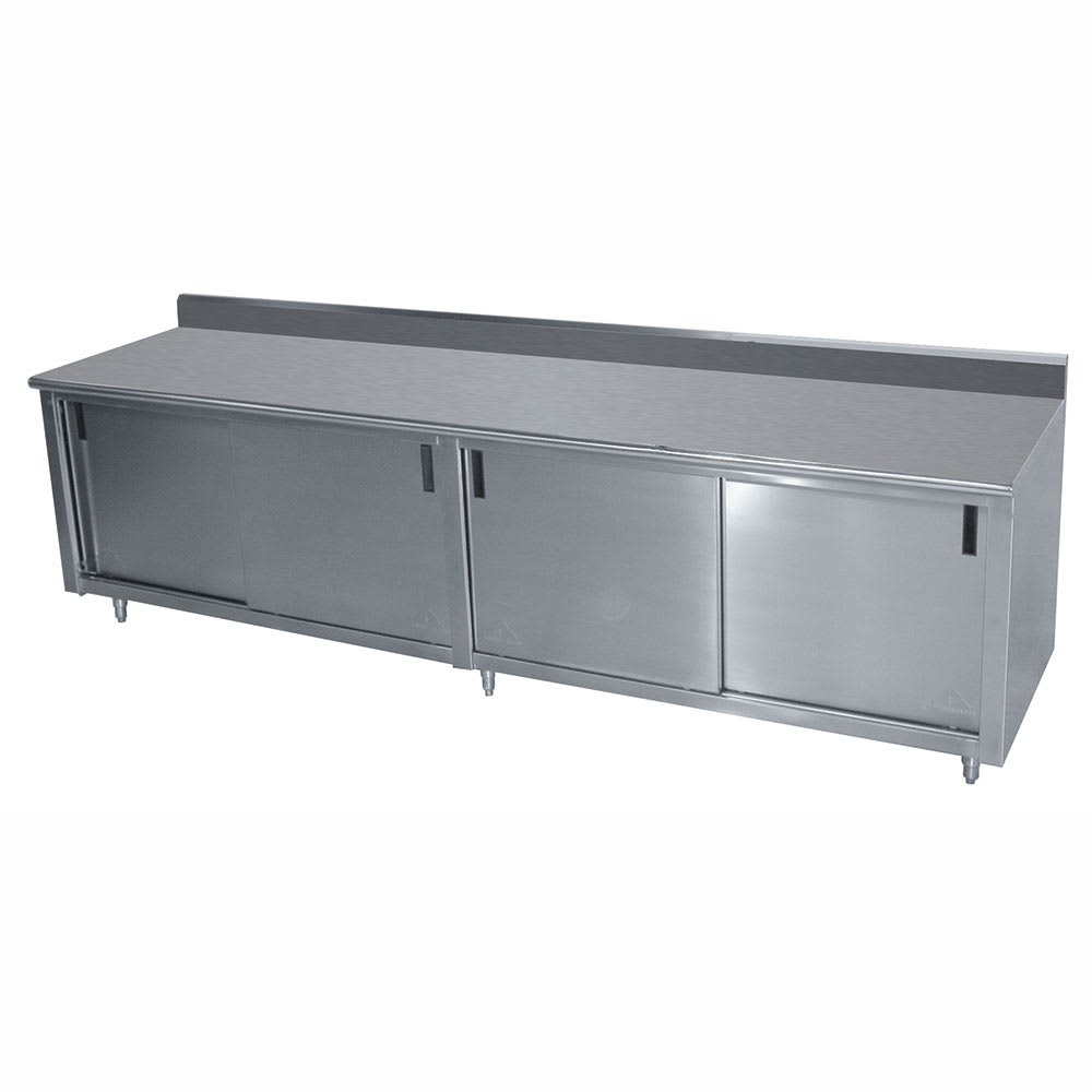 "Advance Tabco CK-SS-308M 96"" Enclosed Work Table w/ Sliding Doors & Midshelf, 5"" Backsplash, 30""D"