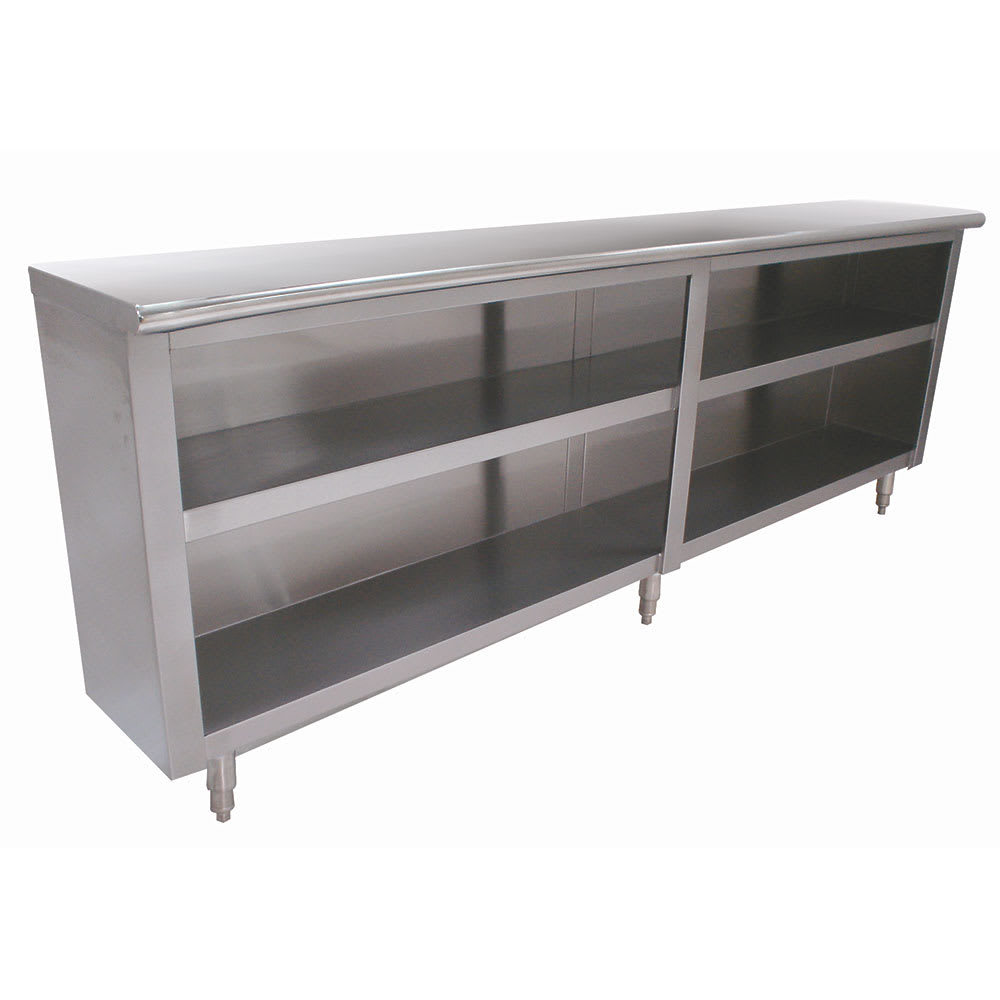 "Advance Tabco DC-187 84"" Enclosed Work Table w/ Open Base & Midshelf, 18""D"