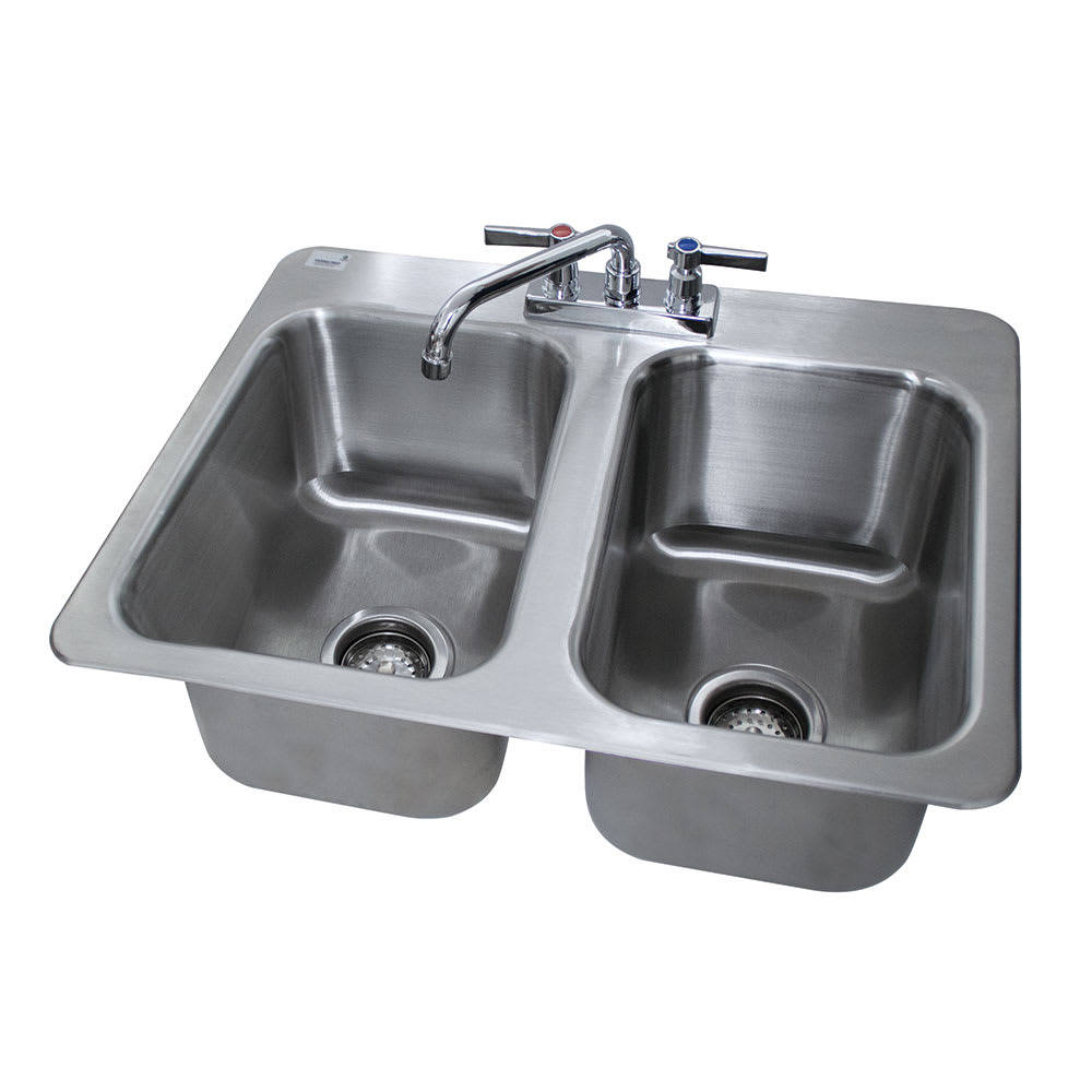 "Advance Tabco DI-2-10 (2) Compartment Drop-in Sink - 10"" x 14"", Drain Included"