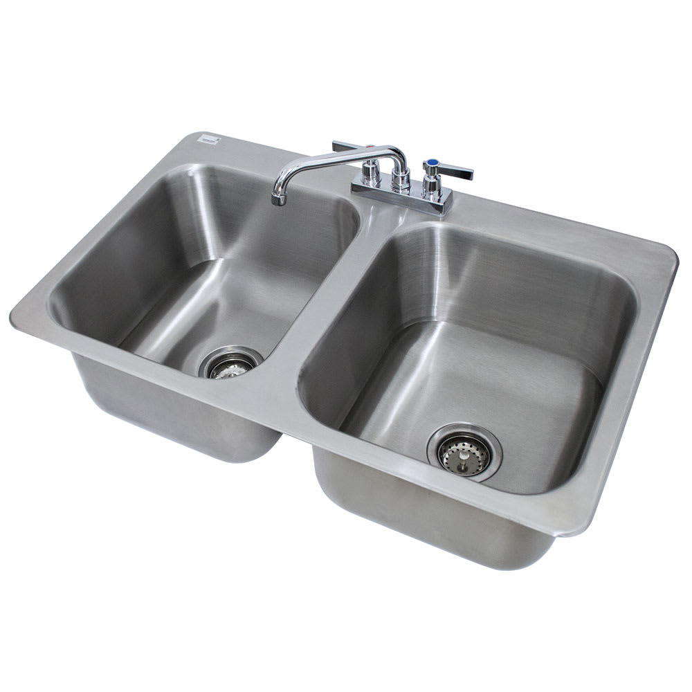"Advance Tabco DI-2-1410 (2) Compartment Drop-in Sink - 14"" x 16"", Drain Included"