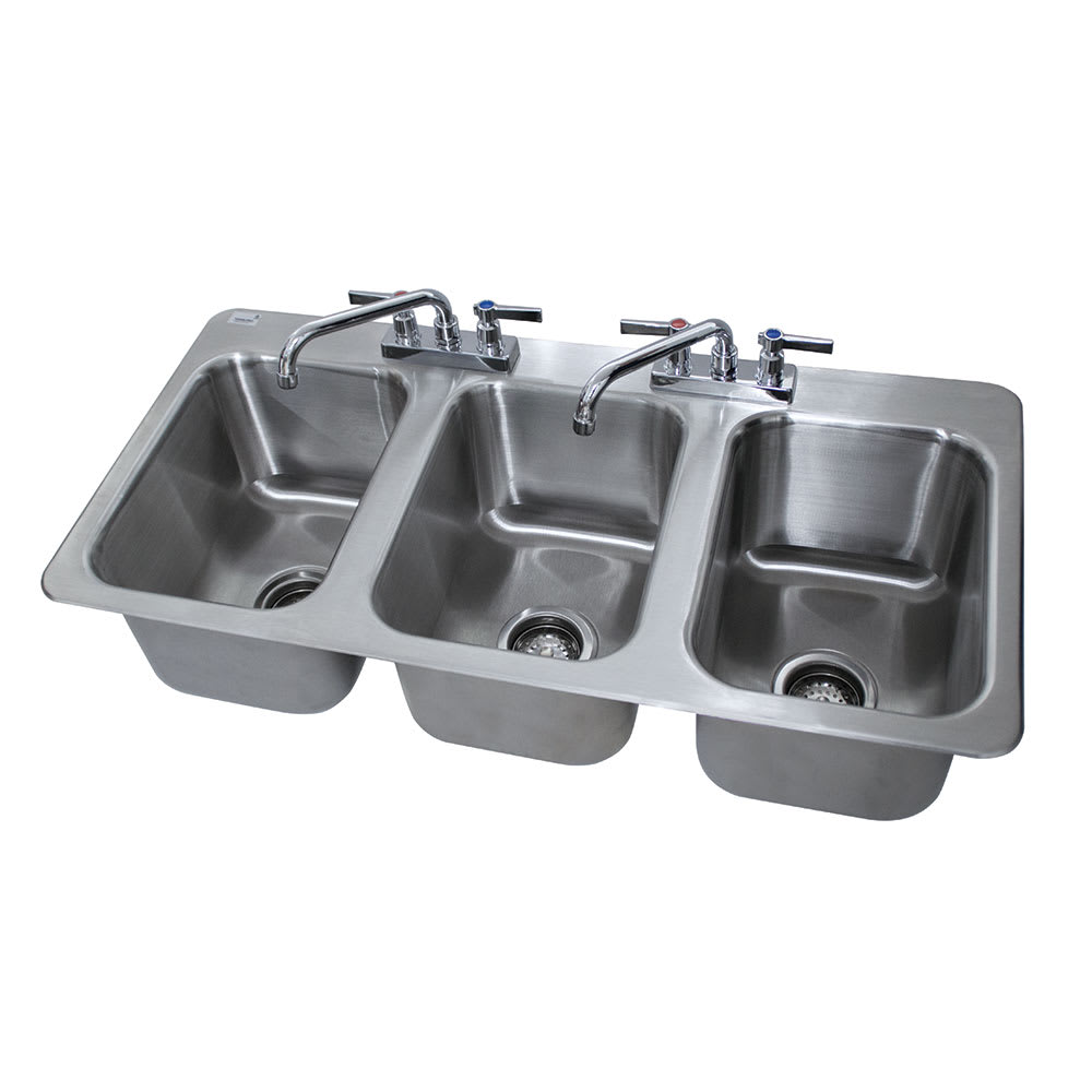 "Advance Tabco DI-3-10 (3) Compartment Drop-in Sink - 10"" x 14"", Drain Included"