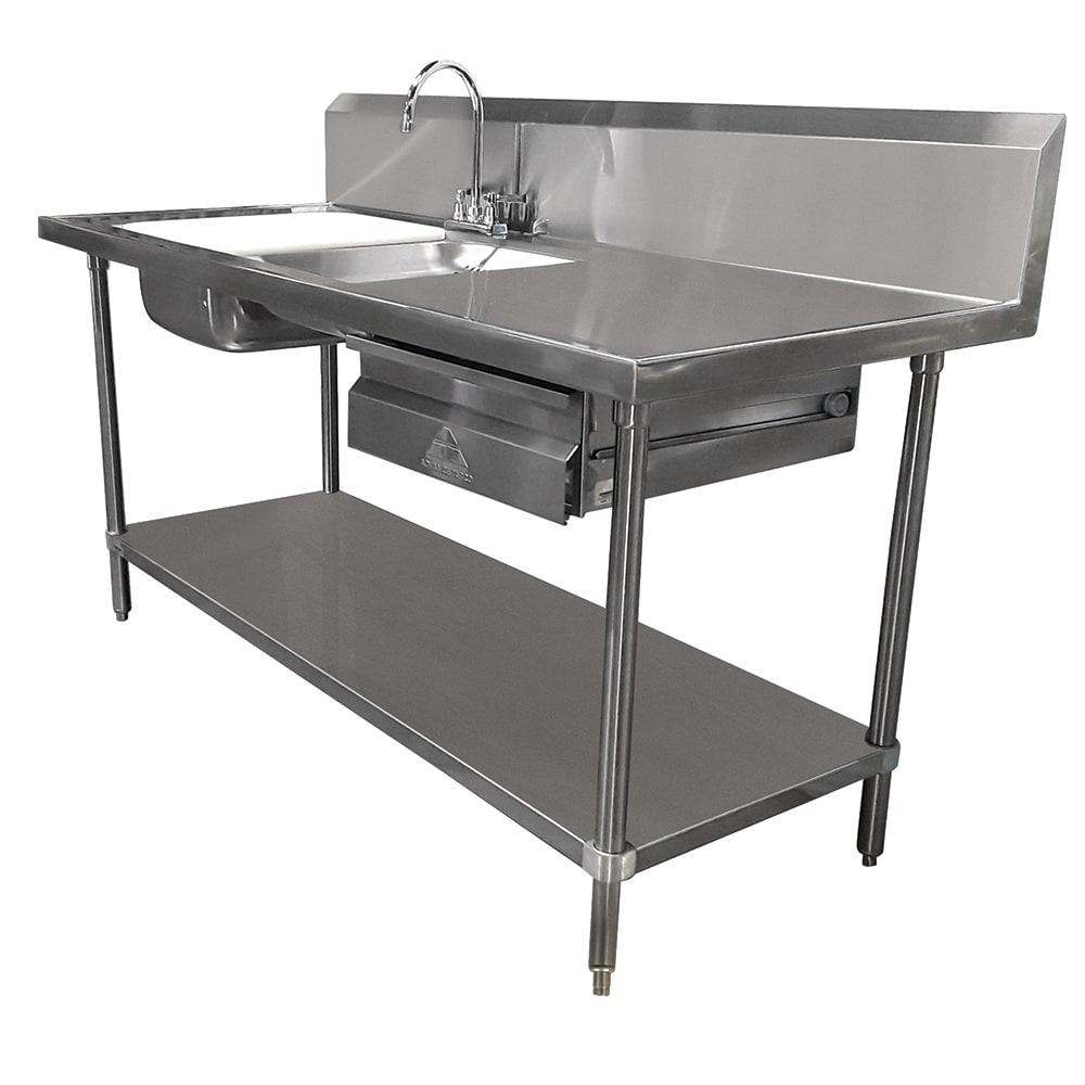 "Advance Tabco DL-30-72 72"" Prep Table Sink Unit - (2) Sinks, Deck Mount Gooseneck"