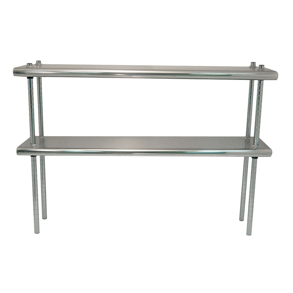 "Advance Tabco DS1260 Table Mount Shelf - Double Deck, 12x60"", 18-ga 430-Stainless"