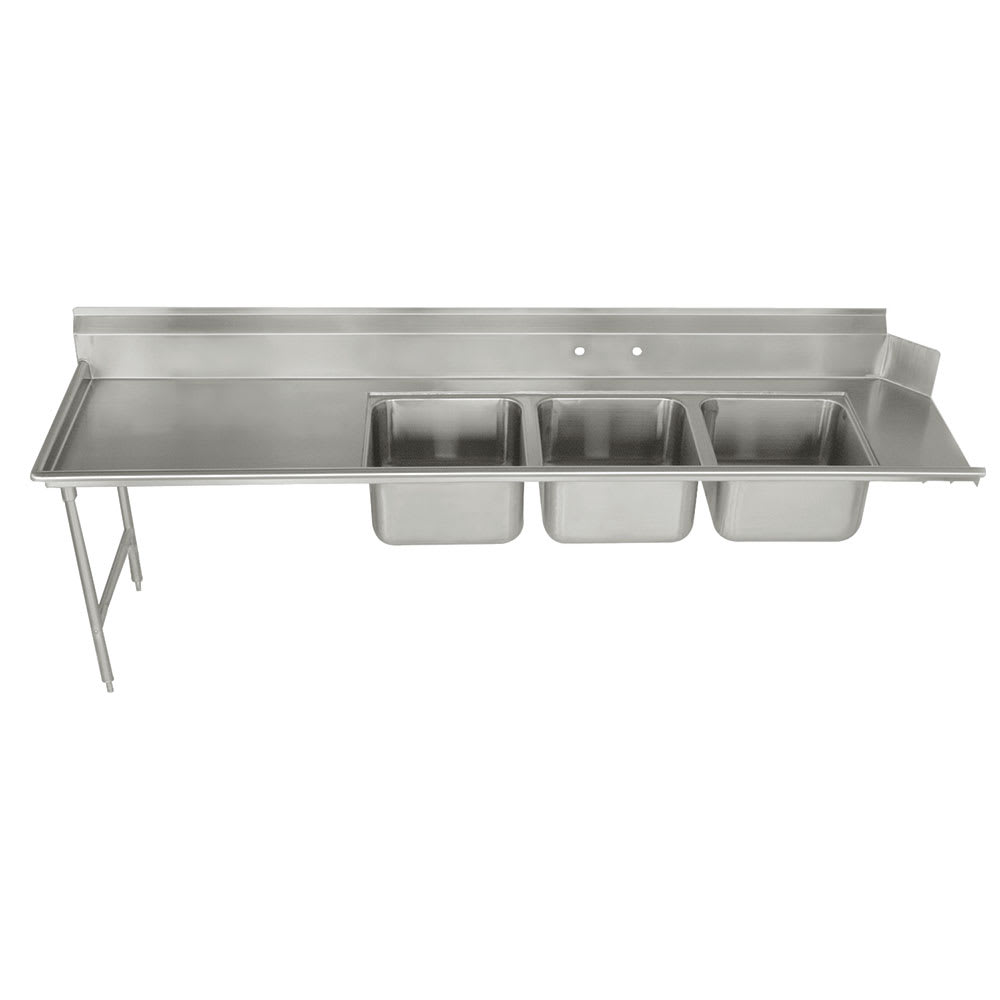 "Advance Tabco DTC-3-2020-108L Dish Table - (3) 20x20x12"" Bowls, 27"" Left Drainboard, 16-ga 304-Stainless"
