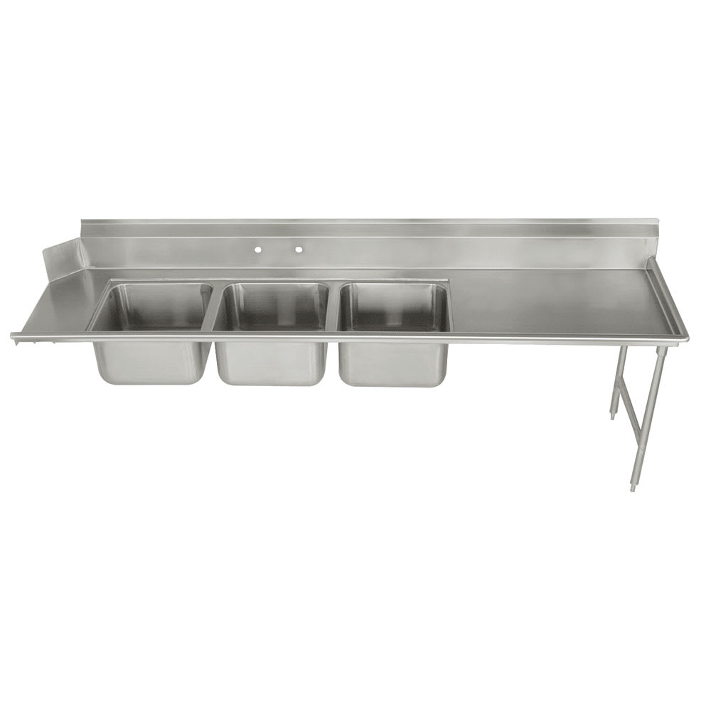 "Advance Tabco DTC-3-2020-96R Dish Table - (3) 20x20x12"" Bowls, 15"" Right Drainboard, 16 ga 304 Stainless"