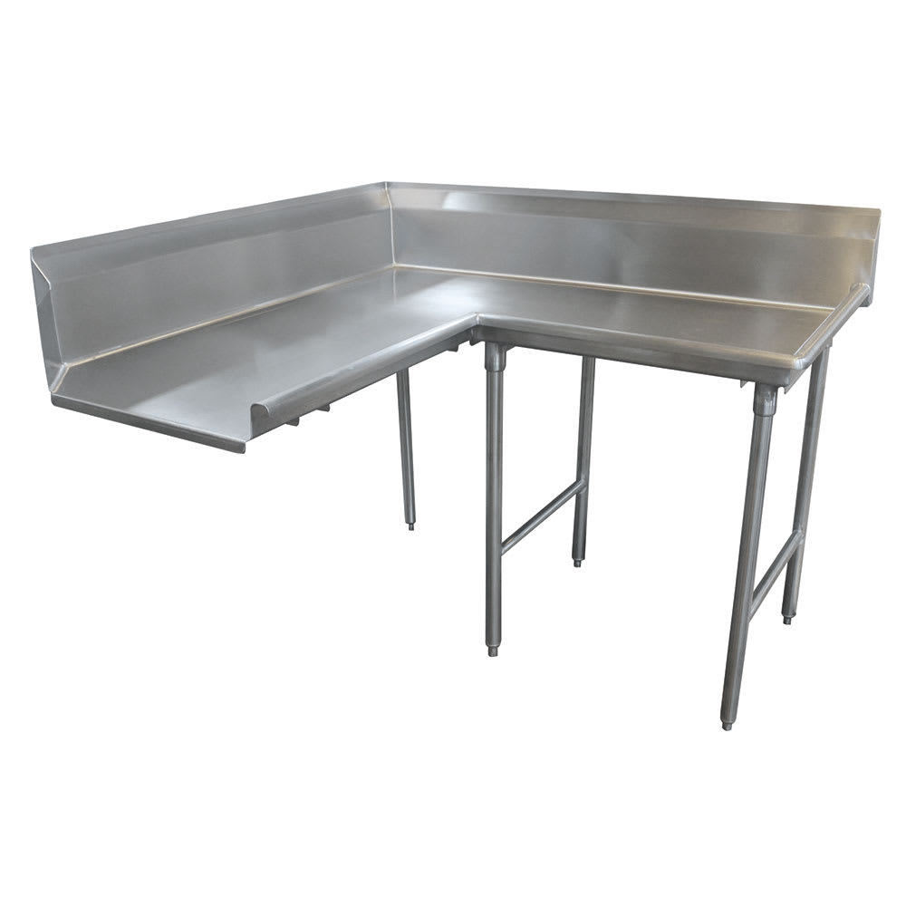 "Advance Tabco DTC-K30-120R 119"" Korner Clean Dishtable - L-Shape, Stainless Legs, L-R, 14-ga 304-Stainless"