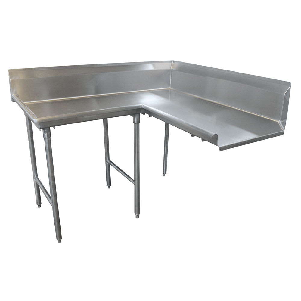 "Advance Tabco DTC-K30-144L 143"" Komer Clean Dishtable - L-Shape, Stainless Legs, R-L, 14-ga 304-Stainless"