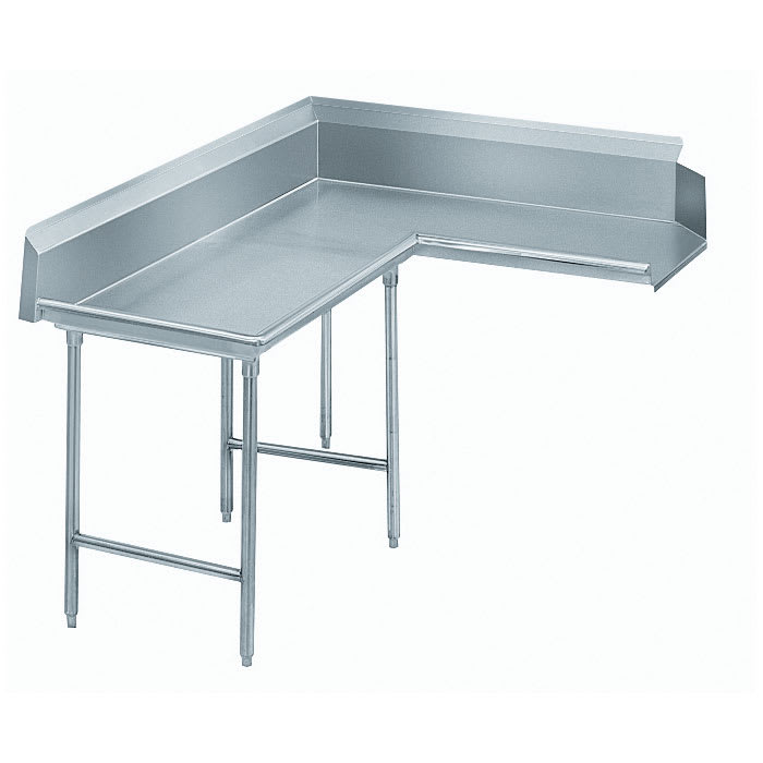 "Advance Tabco DTC-K60-48L 47"" Komer Clean Dishtable - L-Shape, Galvanized Legs, R-L, 14 ga 304 Galvanized"