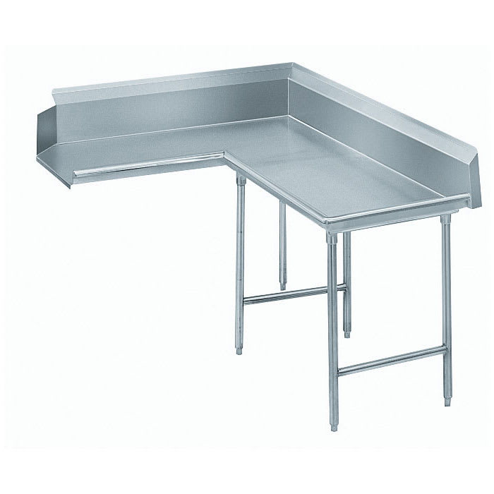 "Advance Tabco DTC-K60-72R 71"" Komer Clean Dishtable - L-Shape, Galvanized Legs, L-R, 14-ga 304-Galvanized"