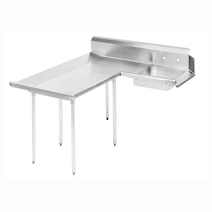 "Advance Tabco DTS-D30-144L 143"" L-R Dishlanding Soil Dishtable - 10.5"" Backsplash, Stainless Legs"