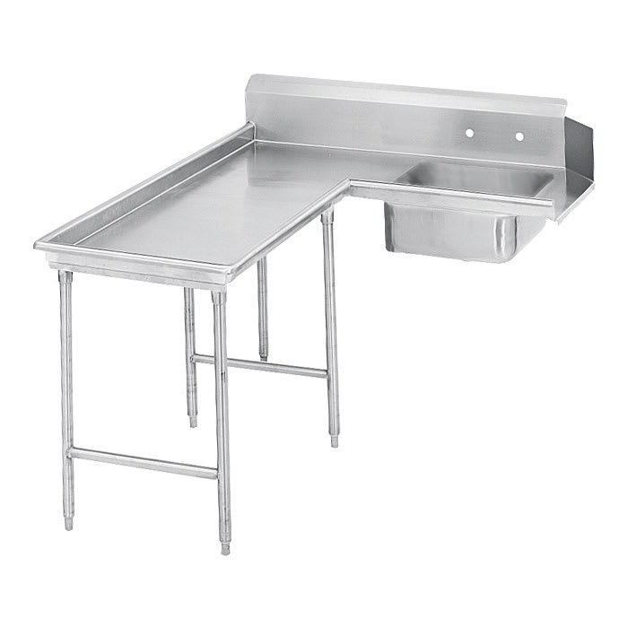 "Advance Tabco DTS-G30-96L 95"" L-R Island Soil Dishtable - 10.5"" Backsplash, Stainless Legs, 14 ga Stainless"