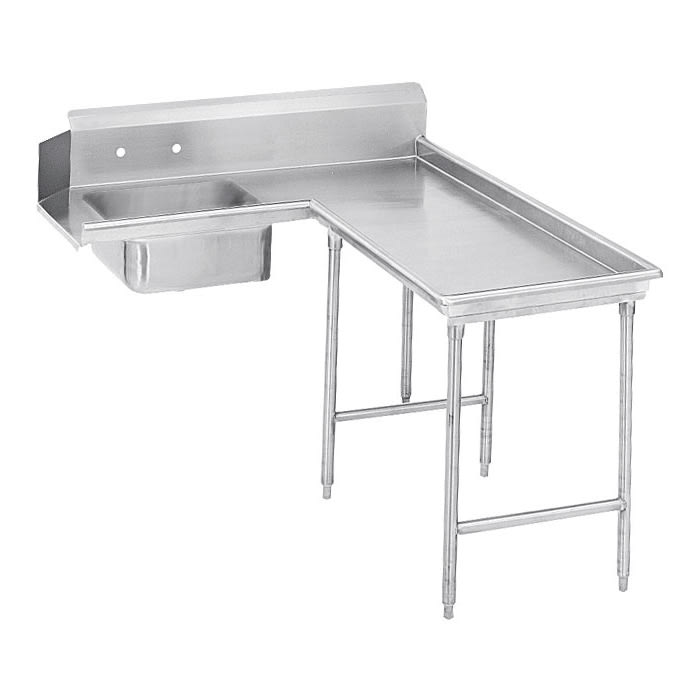 "Advance Tabco DTS-G60-144R 143"" R-L Island Soil Dishtable - 10.5"" Backsplash, Galvanized Legs, 14 ga Stainless"