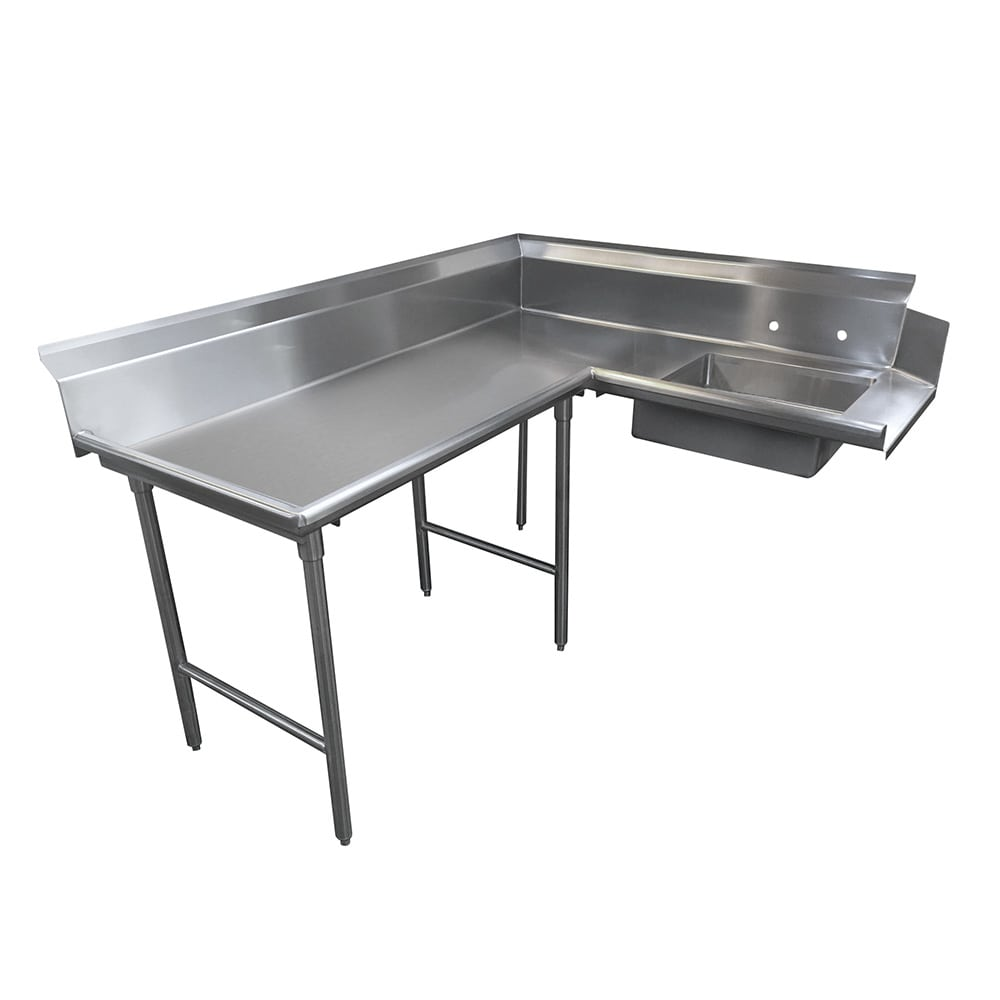 "Advance Tabco DTS-K30-120L 119"" L-R Korner Soil Dishtable - 10.5"" Backsplash, Stainless Legs, 14 ga Stainless"