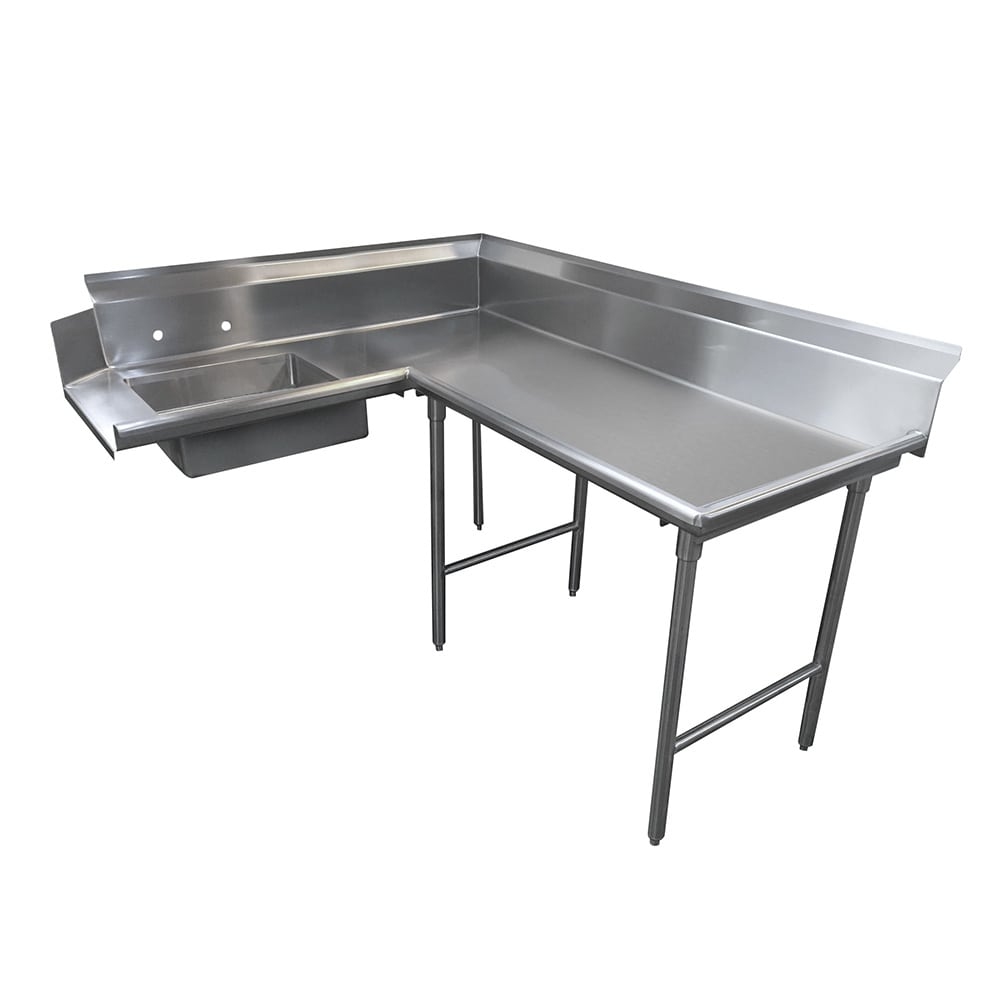 "Advance Tabco DTS-K60-144R 143"" R-L Korner Soil Dishtable - 10.5"" Backsplash, Galvanized Legs, 14-ga Stainless"