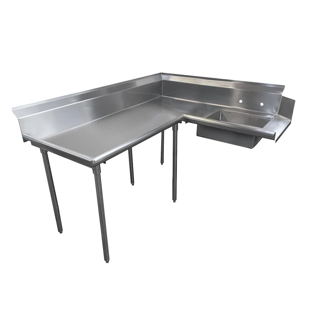 "Advance Tabco DTS-K60-60L 59"" L-R Korner Soil Dishtable - 10.5"" Backsplash, Galvanized Legs, 14-ga Stainless"