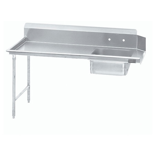 "Advance Tabco DTS-S30-144L 143"" L-R Straight Soil Table - 10.5"" Backsplash, Stainless Legs, 14 ga 304 Stainless"