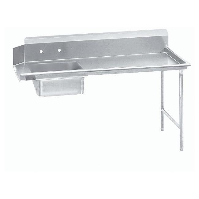 """Advance Tabco DTSS3036R 35"""" R-L Straight Soil Table - 10.5"""" Backsplash, Stainless Legs, 14-ga 304-Stainless"""