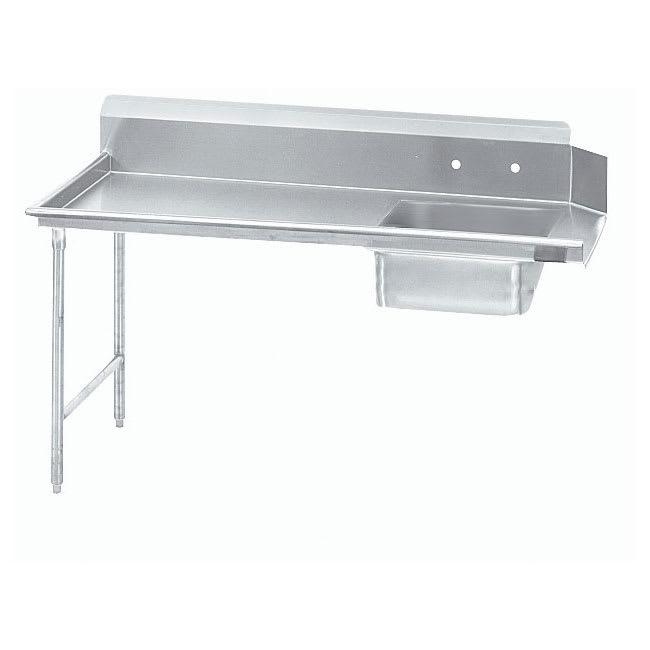 "Advance Tabco DTS-S60-108L 107"" L-R Straight Soil Table - 10.5"" Backsplash, Galvanized Legs, 14-ga 304-Stainless"