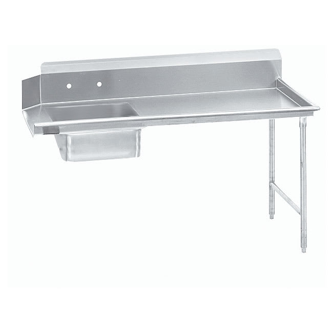 "Advance Tabco DTS-S60-108R 107"" R-L Straight Soil Table - 10.5"" Backsplash, Galvanized Legs, 14-ga 304-Stainless"