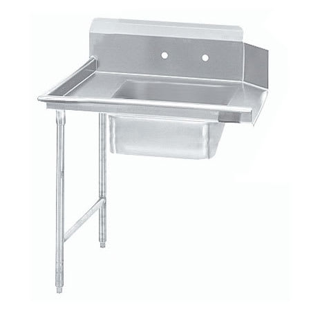 "Advance Tabco DTS-S70-36L 36"" L-R Straight Soil Dishtable - 10.5"" Backsplash, Stainless Legs, 16-ga Stainless"