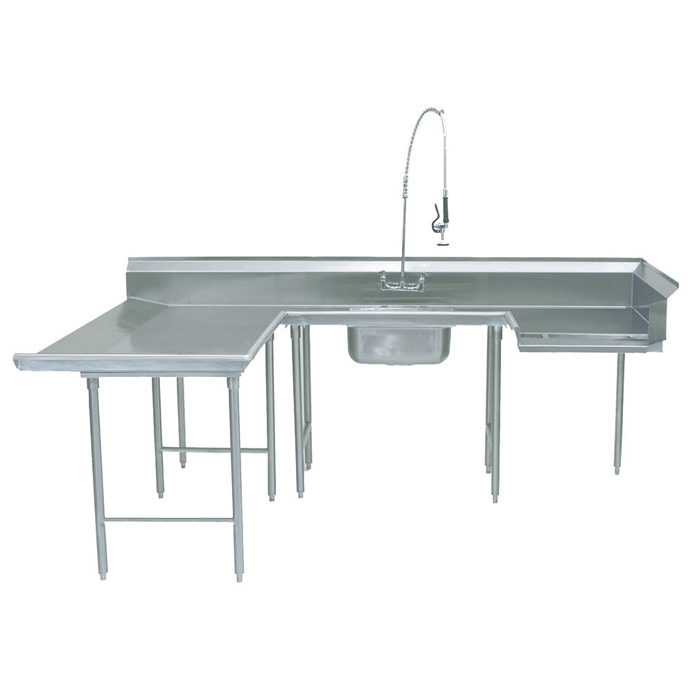 "Advance Tabco DTS-U30-120L Soiled L-R Dishtable - U Shape, Stainless Legs, 59x108x120"", 16 ga 304 Stainless"