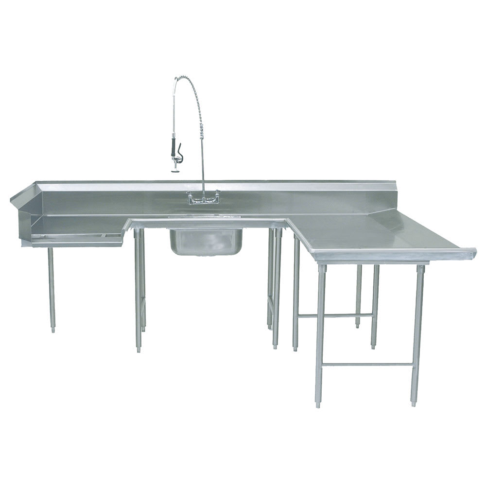 "Advance Tabco DTS-U30-96R Soiled R-L Dishtable - U Shape, Stainless Legs, 59x108x96"", 16 ga 304 Stainless"