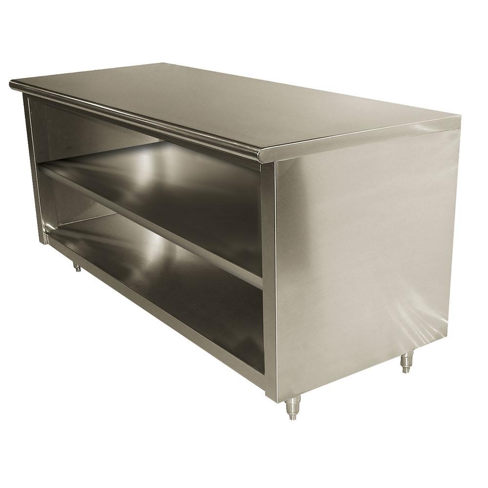 "Advance Tabco EB-SS-249M 108"" Enclosed Work Table w/ Open Base & Midshelf, 24""D"